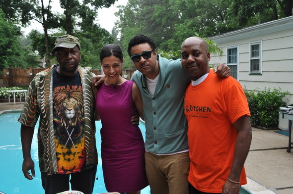 L-R Event host Dave Rodney with Lisa Mateo of PIX 11 TV, Shaggy and chef Alton Henry